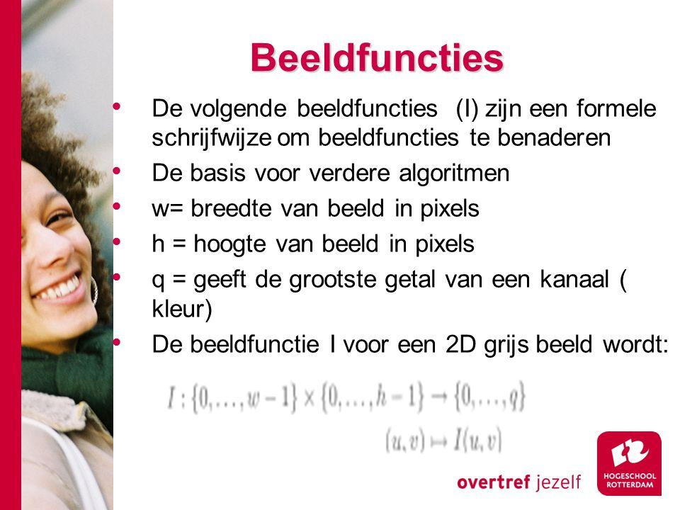 # Beeldfuncties De volgende beeldfuncties (I) zijn een formele schrijfwijze om beeldfuncties te benaderen De basis voor verdere algoritmen w= breedte
