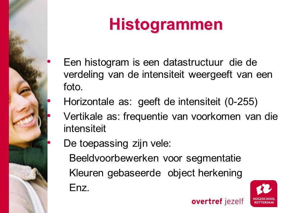 # Histogrammen Een histogram is een datastructuur die de verdeling van de intensiteit weergeeft van een foto.