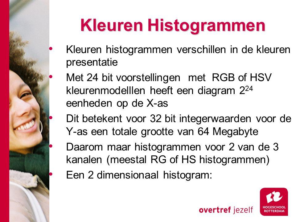 # Kleuren Histogrammen Kleuren histogrammen verschillen in de kleuren presentatie Met 24 bit voorstellingen met RGB of HSV kleurenmodelllen heeft een diagram 2 24 eenheden op de X-as Dit betekent voor 32 bit integerwaarden voor de Y-as een totale grootte van 64 Megabyte Daarom maar histogrammen voor 2 van de 3 kanalen (meestal RG of HS histogrammen) Een 2 dimensionaal histogram: