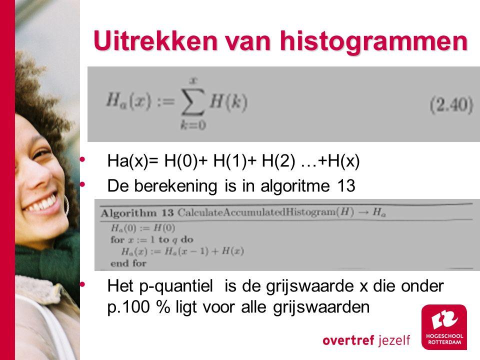 # Uitrekken van histogrammen Ha(x)= H(0)+ H(1)+ H(2) …+H(x) De berekening is in algoritme 13 Het p-quantiel is de grijswaarde x die onder p.100 % ligt voor alle grijswaarden