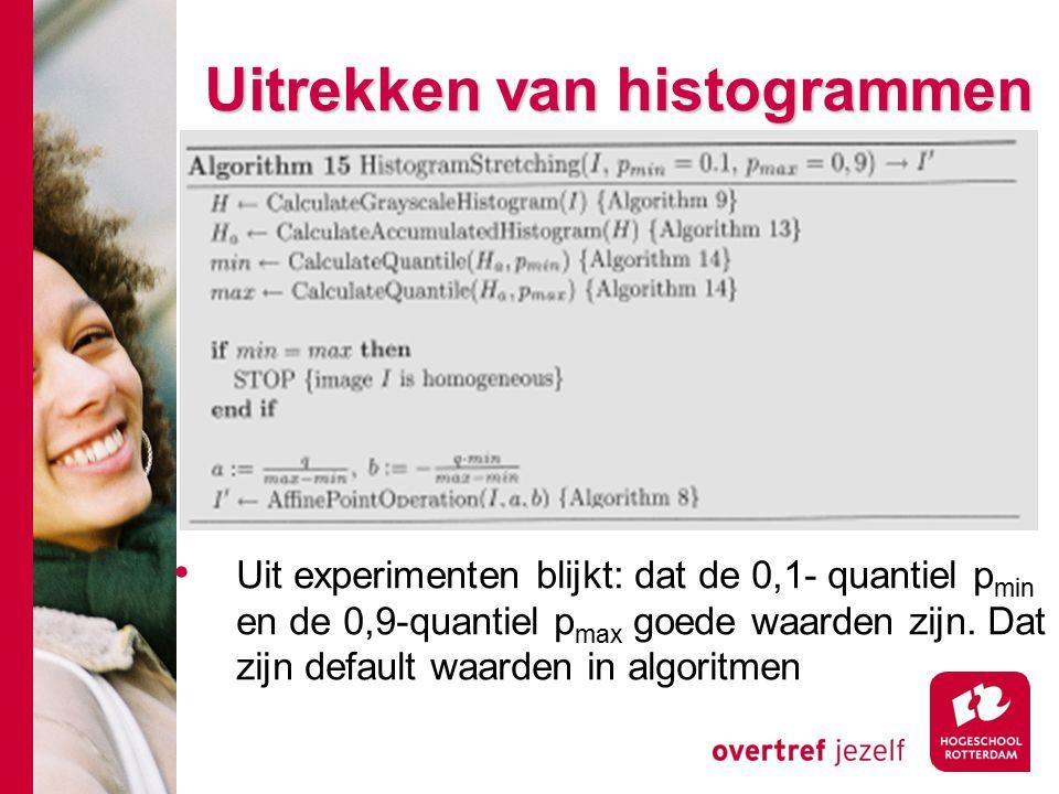 # Uitrekken van histogrammen Uit experimenten blijkt: dat de 0,1- quantiel p min en de 0,9-quantiel p max goede waarden zijn. Dat zijn default waarden
