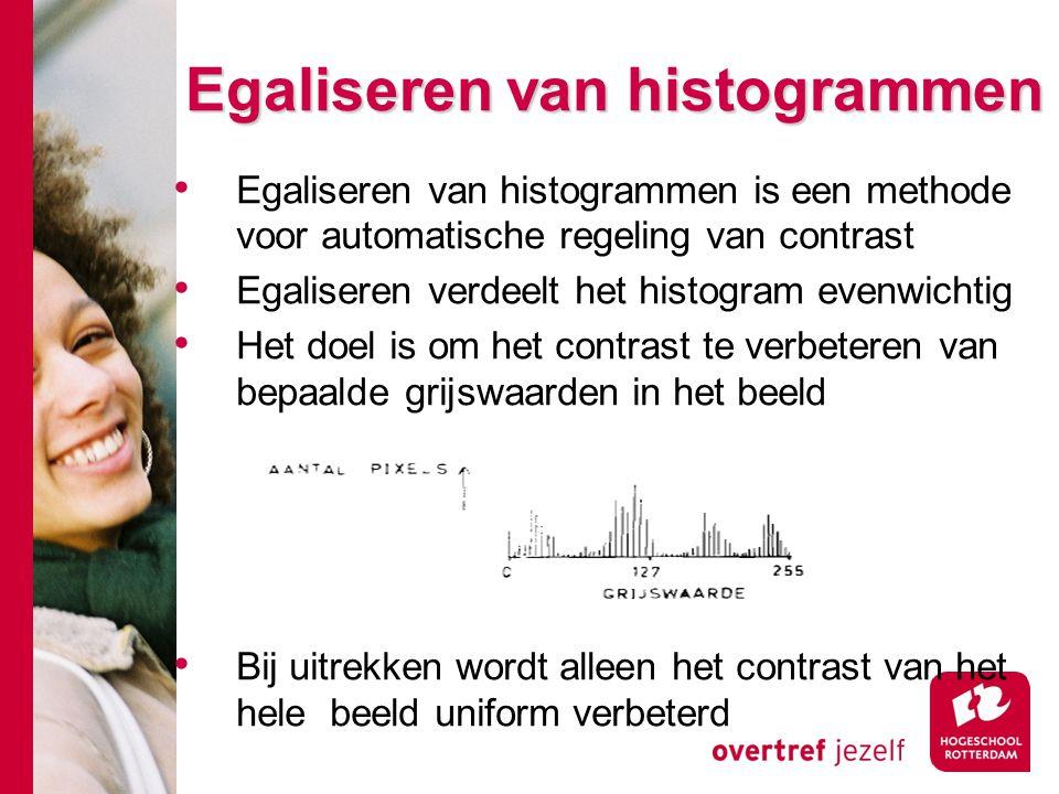 # Egaliseren van histogrammen Egaliseren van histogrammen is een methode voor automatische regeling van contrast Egaliseren verdeelt het histogram eve