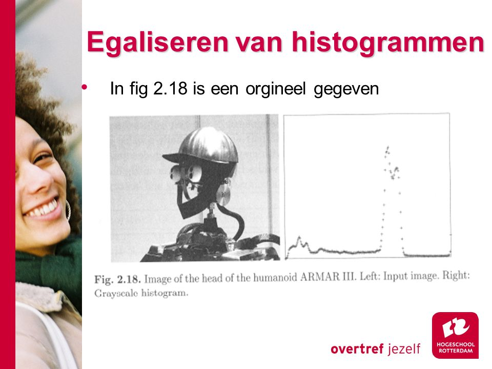 # Egaliseren van histogrammen In fig 2.18 is een orgineel gegeven