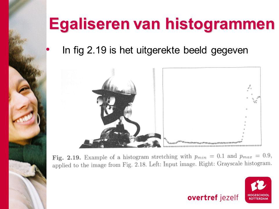 # Egaliseren van histogrammen In fig 2.19 is het uitgerekte beeld gegeven