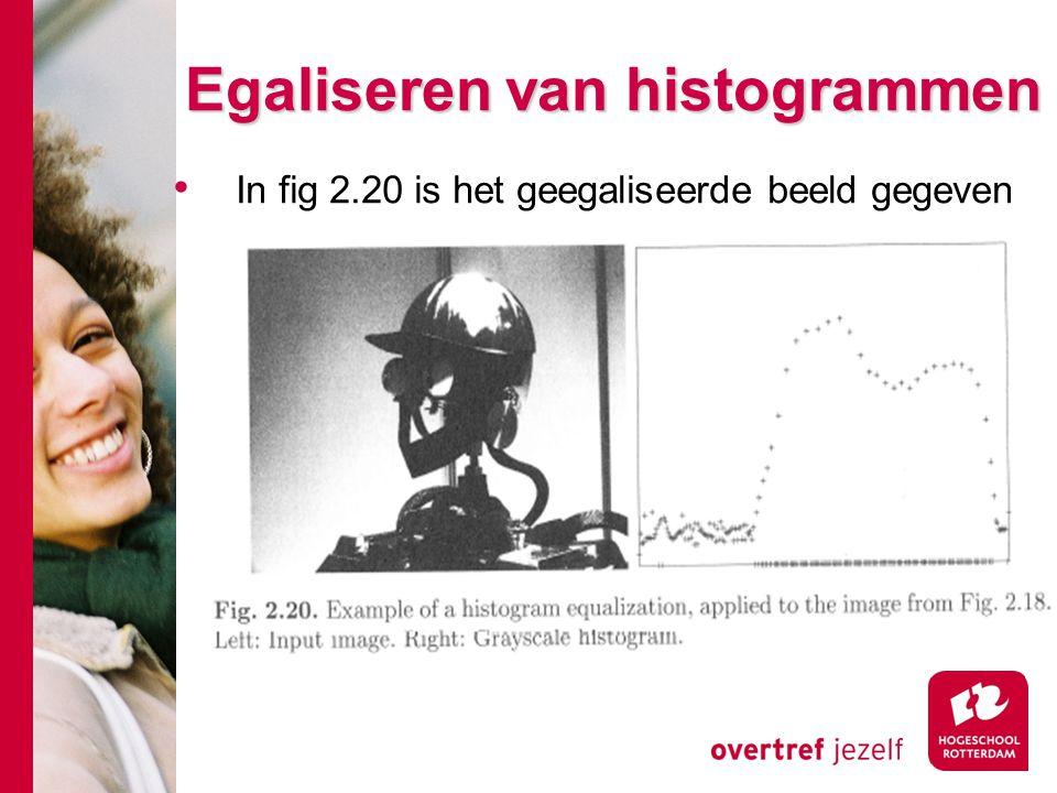 # Egaliseren van histogrammen In fig 2.20 is het geegaliseerde beeld gegeven
