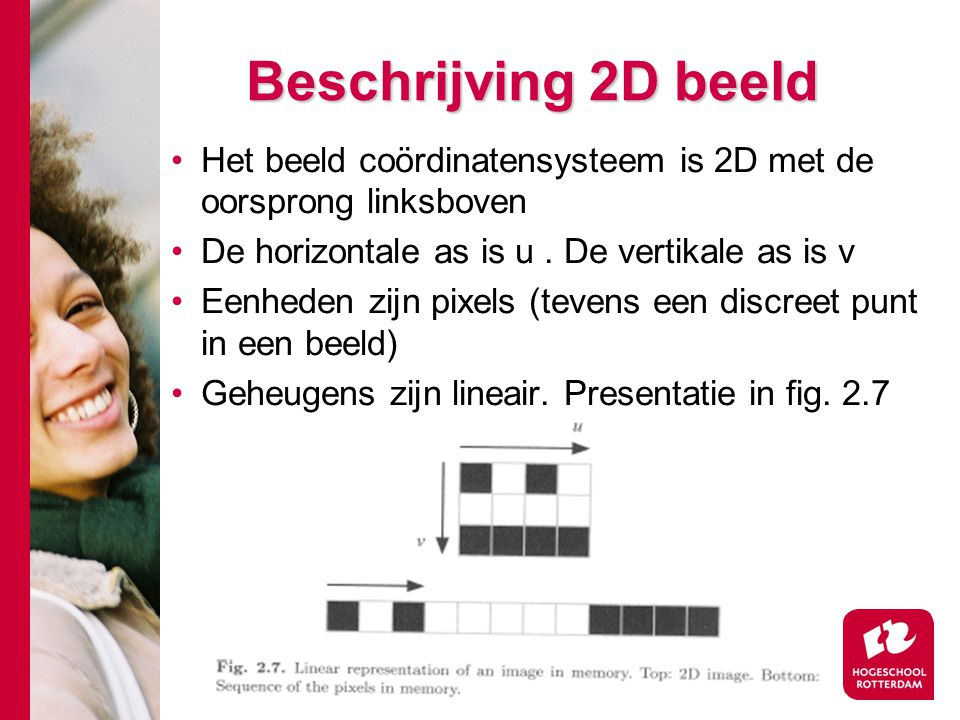 # Beschrijving 2D beeld Het beeld coördinatensysteem is 2D met de oorsprong linksboven De horizontale as is u. De vertikale as is v Eenheden zijn pixe