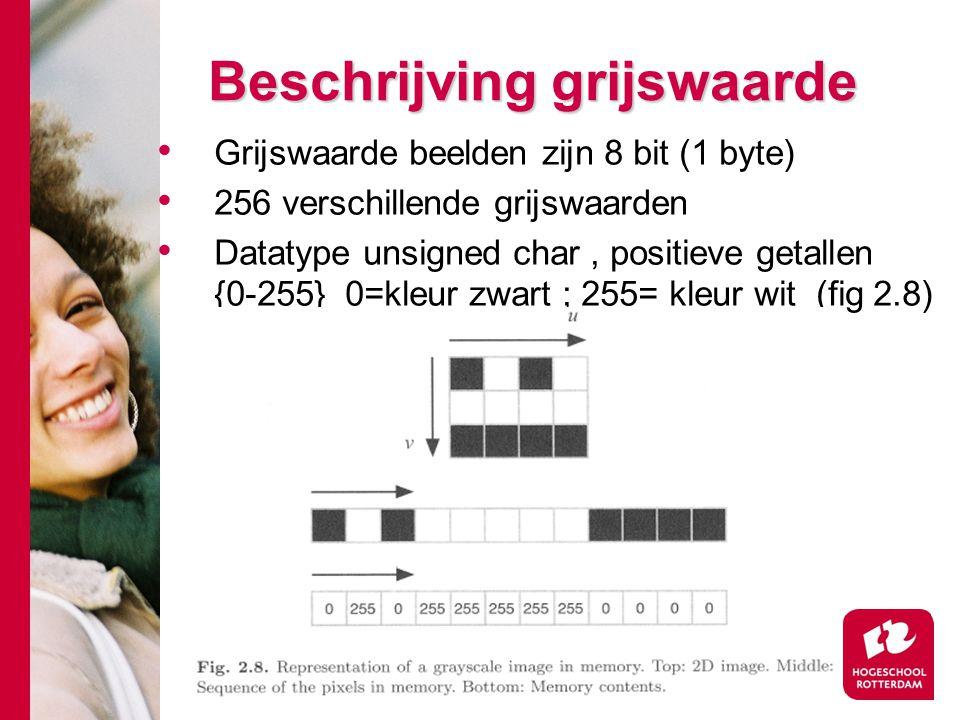 # Beschrijving grijswaarde Grijswaarde beelden zijn 8 bit (1 byte) 256 verschillende grijswaarden Datatype unsigned char, positieve getallen {0-255} 0=kleur zwart ; 255= kleur wit (fig 2.8)