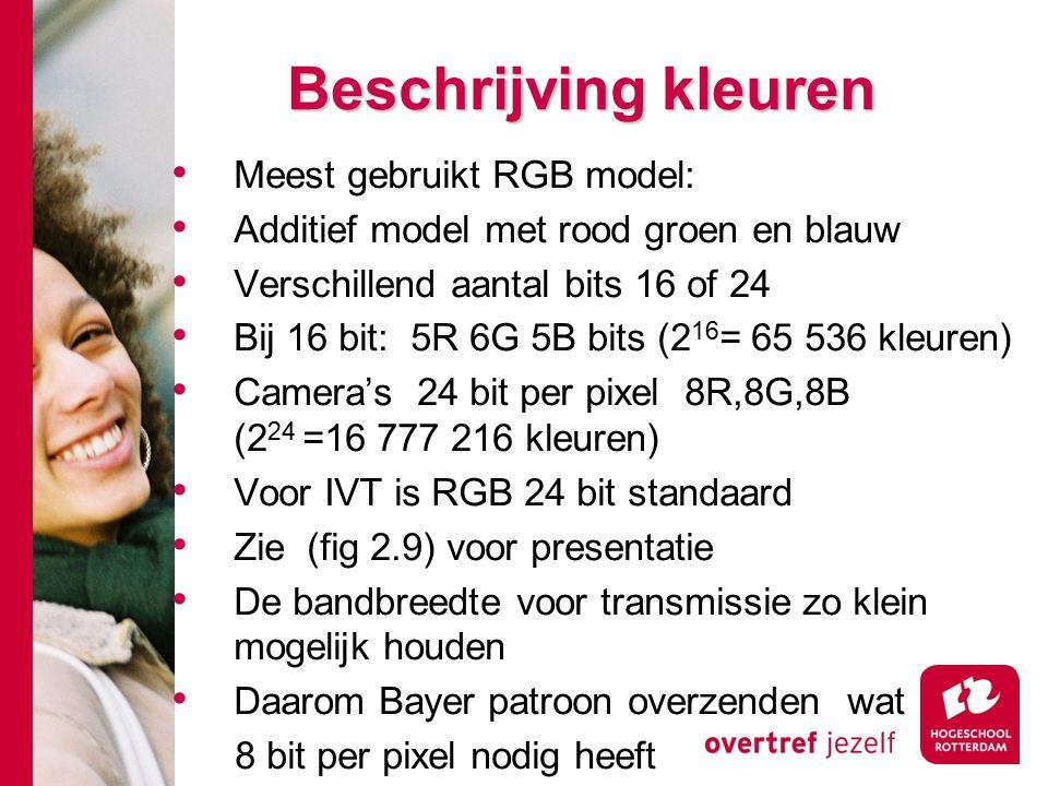 # Beschrijving kleuren Meest gebruikt RGB model: Additief model met rood groen en blauw Verschillend aantal bits 16 of 24 Bij 16 bit: 5R 6G 5B bits (2