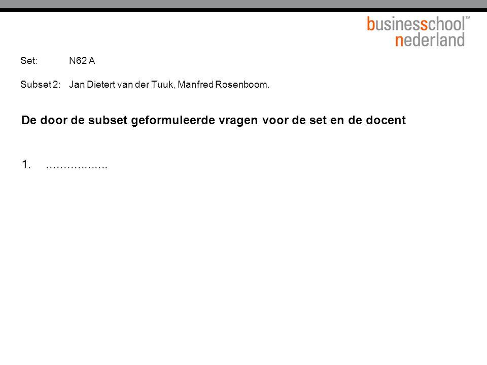 Set: N62 A Subset 2: Jan Dietert van der Tuuk, Manfred Rosenboom.