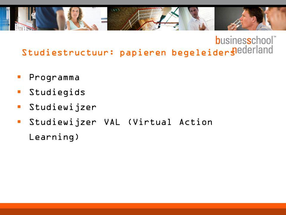 Studiestructuur: papieren begeleiders  Programma  Studiegids  Studiewijzer  Studiewijzer VAL (Virtual Action Learning)