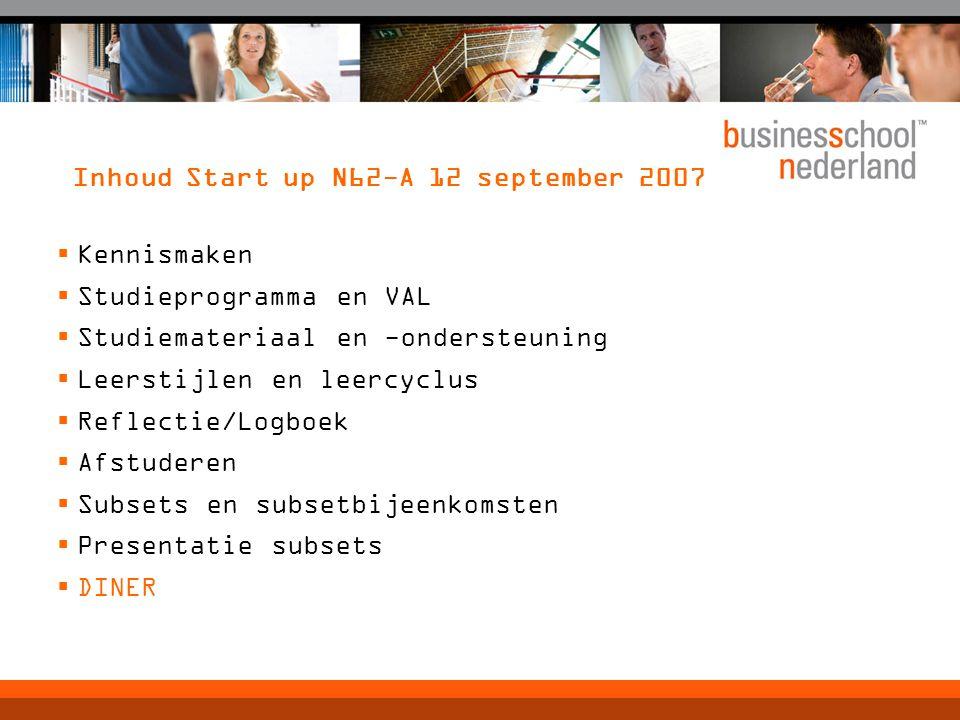 Inhoud Start up N62-A 12 september 2007  Kennismaken  Studieprogramma en VAL  Studiemateriaal en -ondersteuning  Leerstijlen en leercyclus  Reflectie/Logboek  Afstuderen  Subsets en subsetbijeenkomsten  Presentatie subsets  DINER