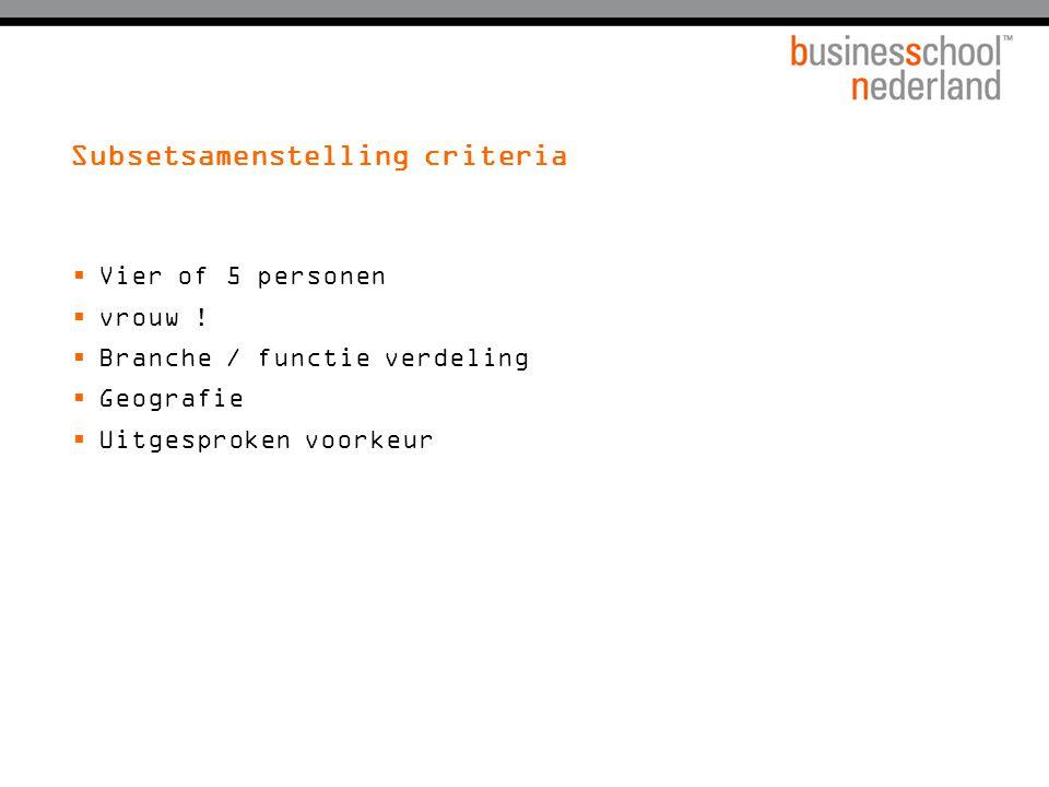 Subsetsamenstelling criteria  Vier of 5 personen  vrouw .