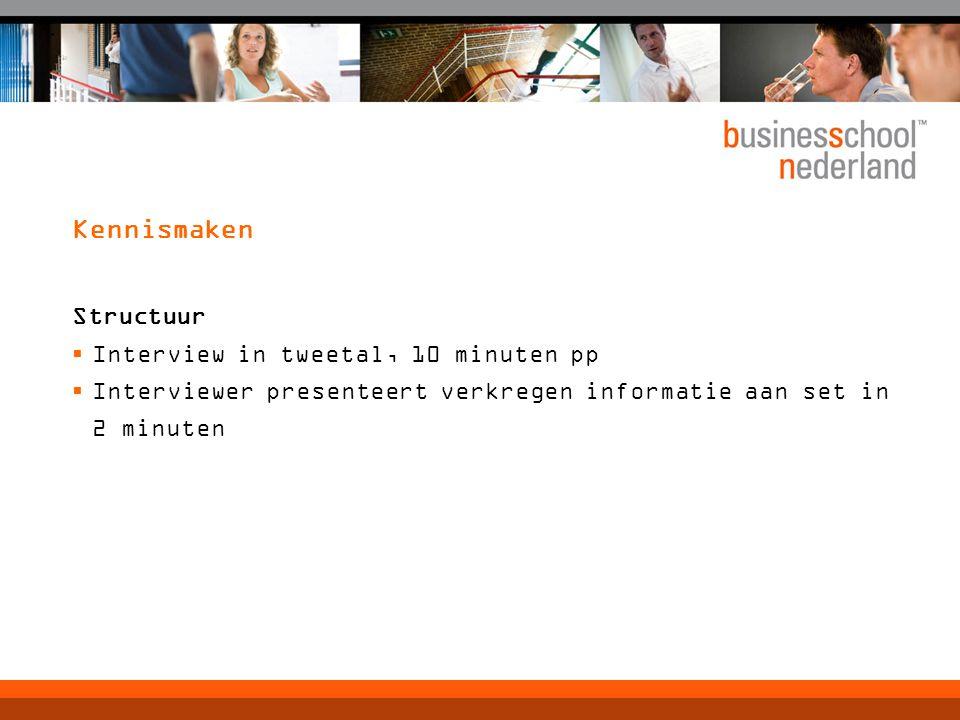 Kennismaken Structuur  Interview in tweetal, 10 minuten pp  Interviewer presenteert verkregen informatie aan set in 2 minuten