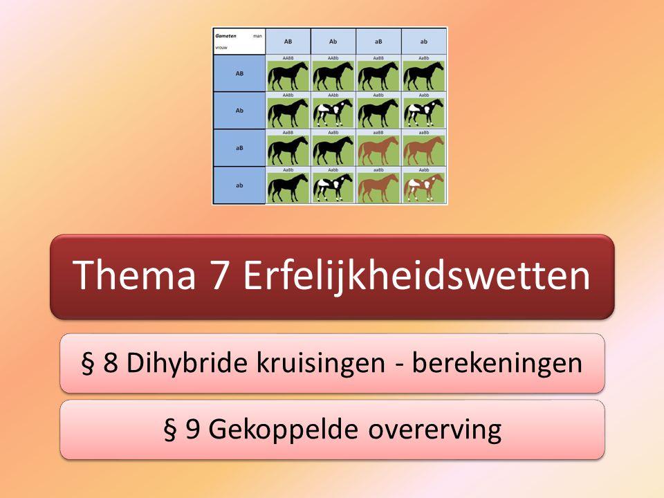 Thema 7 Erfelijkheidswetten § 8 Dihybride kruisingen - berekeningen§ 9 Gekoppelde overerving