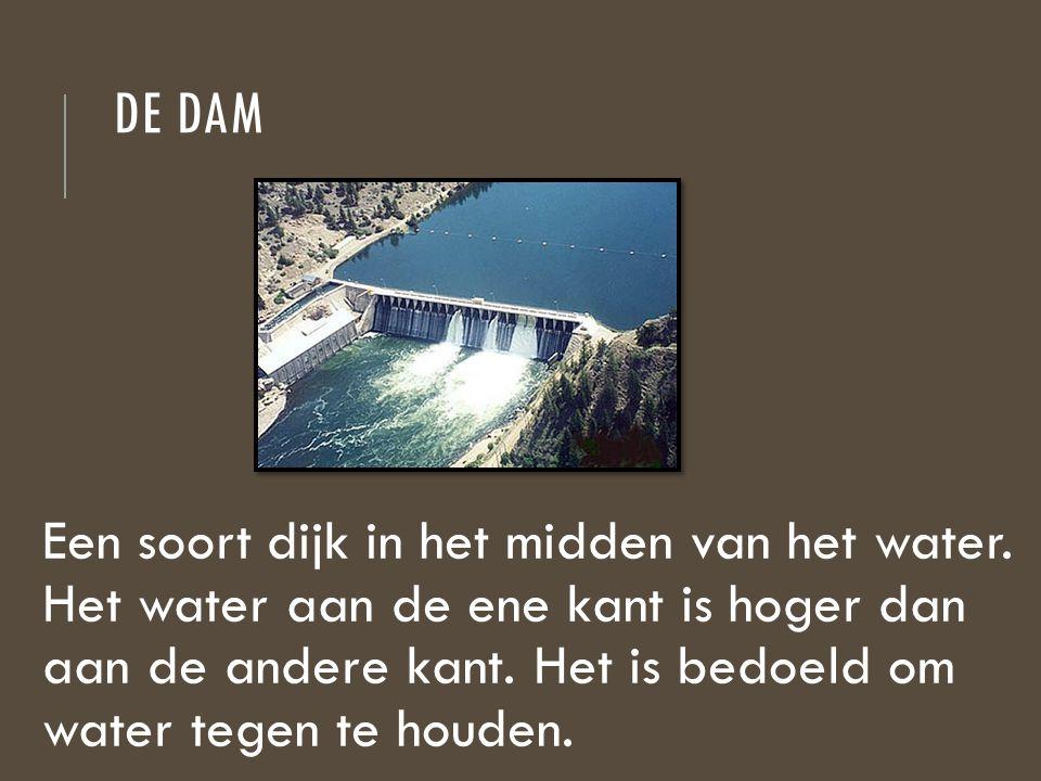 DE DAM Een soort dijk in het midden van het water. Het water aan de ene kant is hoger dan aan de andere kant. Het is bedoeld om water tegen te houden.