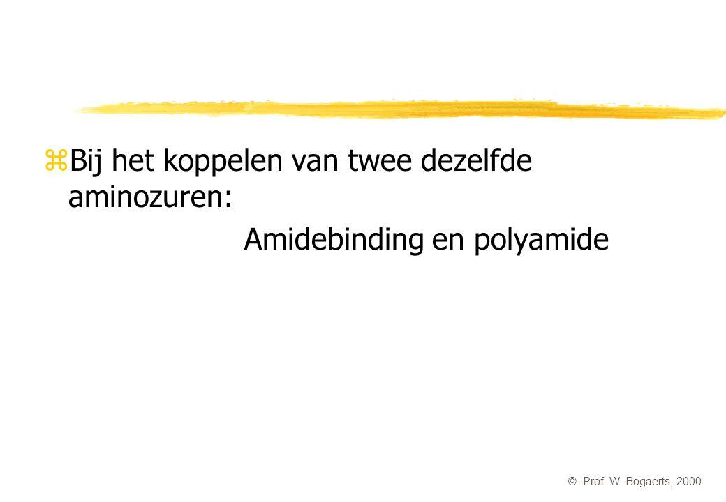 zBij het koppelen van twee dezelfde aminozuren: Amidebinding en polyamide © Prof. W. Bogaerts, 2000