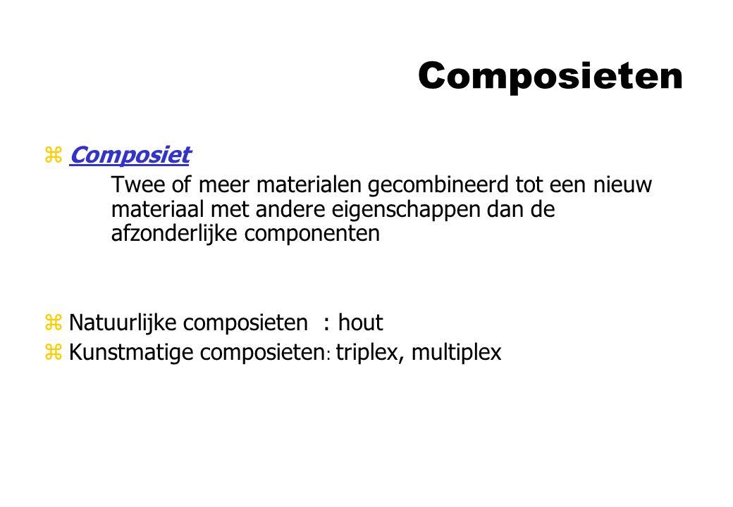 Composieten zComposiet Twee of meer materialen gecombineerd tot een nieuw materiaal met andere eigenschappen dan de afzonderlijke componenten zNatuurl