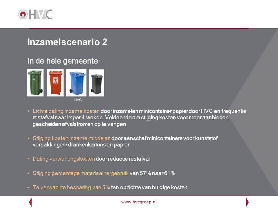 Inzamelscenario 2 In de hele gemeente : Lichte daling inzamelkosten door inzamelen minicontainer papier door HVC en frequentie restafval naar1x per 4 weken.