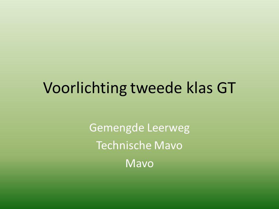 Voorlichting tweede klas GT Gemengde Leerweg Technische Mavo Mavo