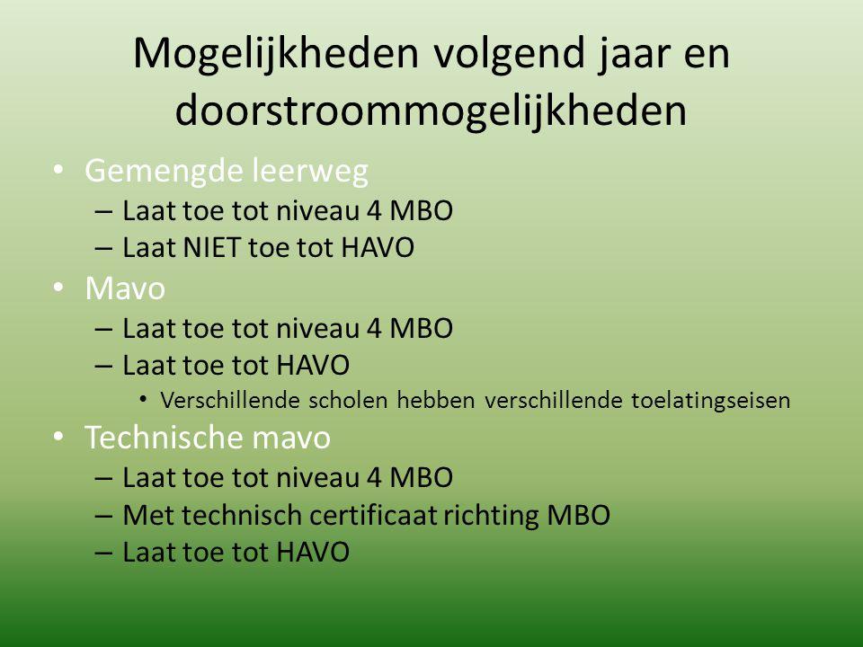 Mogelijkheden volgend jaar en doorstroommogelijkheden Gemengde leerweg – Laat toe tot niveau 4 MBO – Laat NIET toe tot HAVO Mavo – Laat toe tot niveau