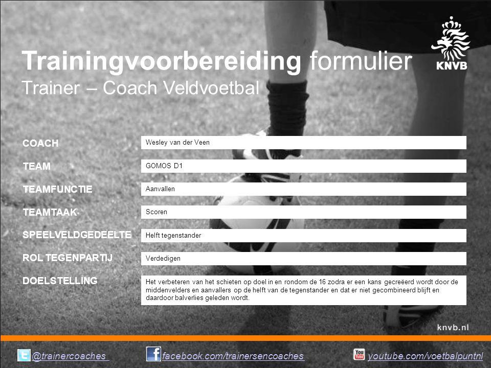Trainingvoorbereiding formulier Trainer – Coach Veldvoetbal COACH TEAM TEAMFUNCTIE TEAMTAAK SPEELVELDGEDEELTE ROL TEGENPARTIJ DOELSTELLING Aanvallen W