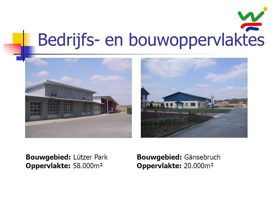 Bedrijfs- en bouwoppervlaktes Bouwgebied: Lützer Park Oppervlakte: 58.000m² Bouwgebied: Gänsebruch Oppervlakte: 20.000m²