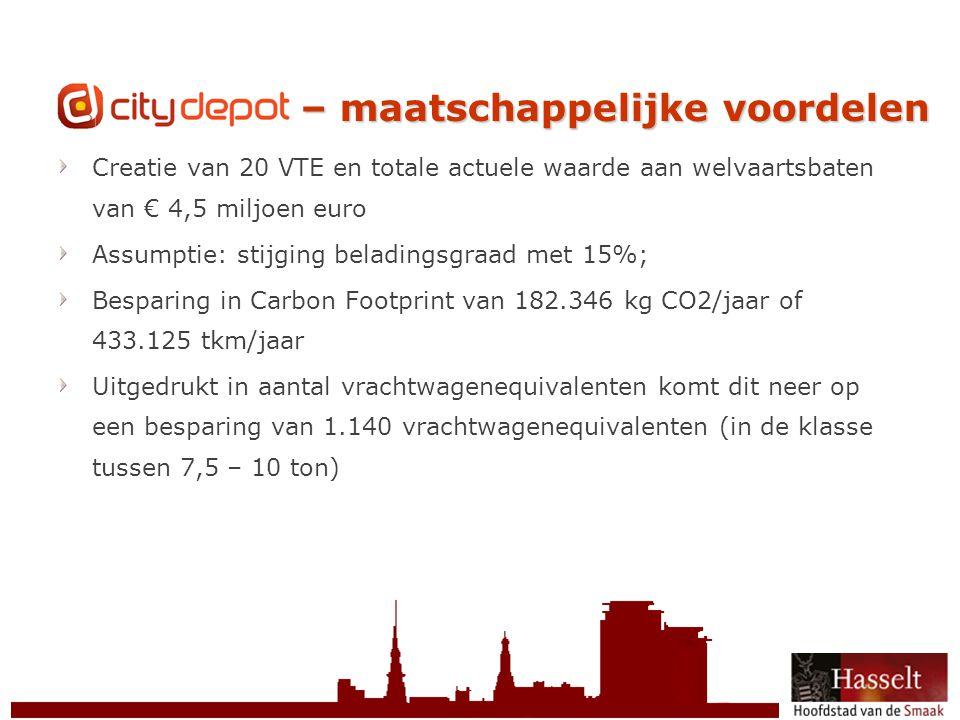 © 2011 Stad Hasselt CityDepot – maatschappelijke voordelen Creatie van 20 VTE en totale actuele waarde aan welvaartsbaten van € 4,5 miljoen euro Assum