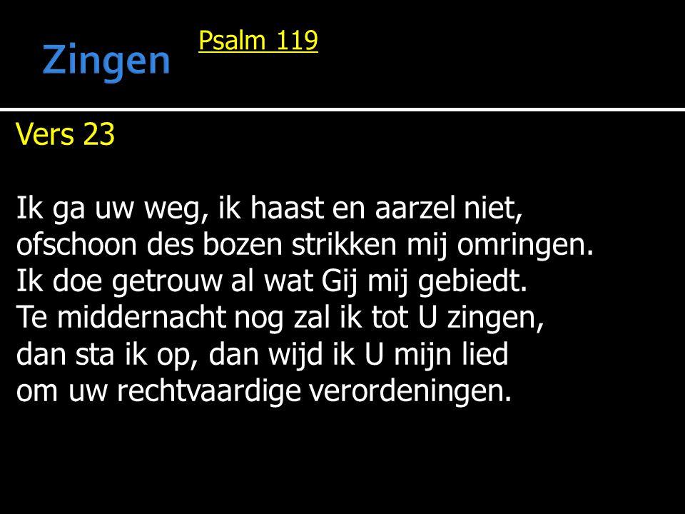 Psalm 119 Vers 23 Ik ga uw weg, ik haast en aarzel niet, ofschoon des bozen strikken mij omringen. Ik doe getrouw al wat Gij mij gebiedt. Te middernac