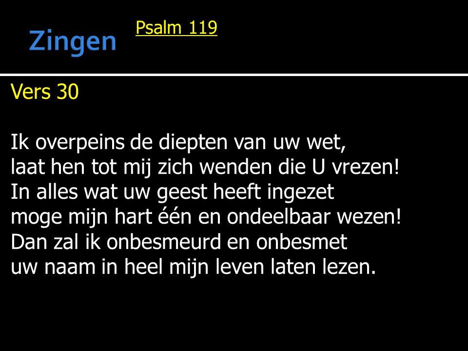 Psalm 119 Vers 30 Ik overpeins de diepten van uw wet, laat hen tot mij zich wenden die U vrezen! In alles wat uw geest heeft ingezet moge mijn hart éé