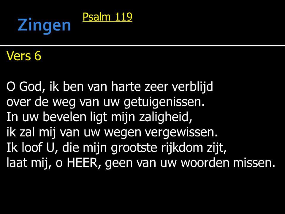 Psalm 119 Vers 6 O God, ik ben van harte zeer verblijd over de weg van uw getuigenissen. In uw bevelen ligt mijn zaligheid, ik zal mij van uw wegen ve