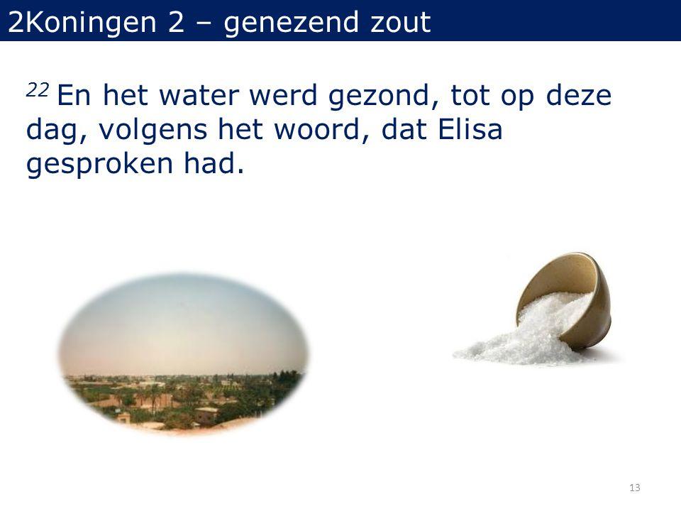 22 En het water werd gezond, tot op deze dag, volgens het woord, dat Elisa gesproken had.
