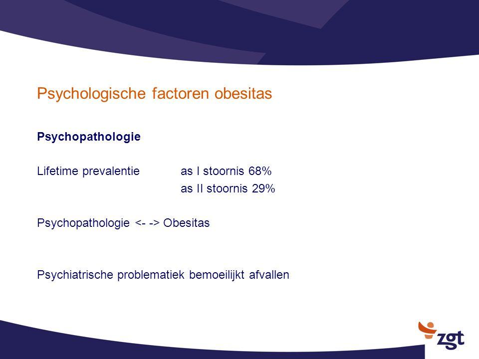 Psychologische factoren obesitas Psychopathologie Lifetime prevalentieas I stoornis 68% as II stoornis 29% Psychopathologie Obesitas Psychiatrische pr