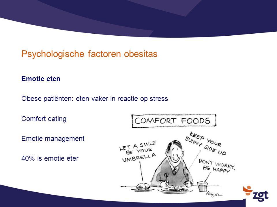 Psychologische factoren obesitas Emotie eten Obese patiënten: eten vaker in reactie op stress Comfort eating Emotie management 40% is emotie eter