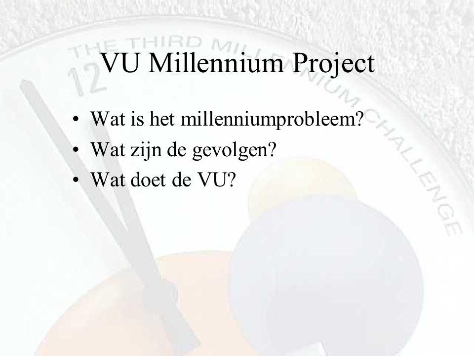 VU Millennium Project Wat is het millenniumprobleem? Wat zijn de gevolgen? Wat doet de VU?