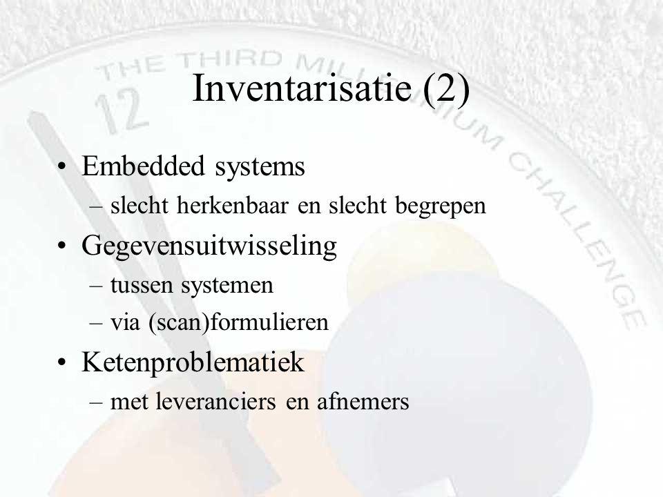 Inventarisatie (2) Embedded systems –slecht herkenbaar en slecht begrepen Gegevensuitwisseling –tussen systemen –via (scan)formulieren Ketenproblemati