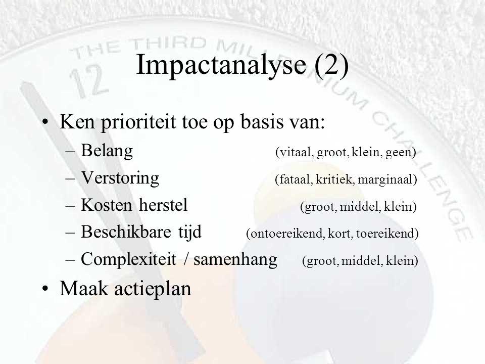 Impactanalyse (2) Ken prioriteit toe op basis van: –Belang (vitaal, groot, klein, geen) –Verstoring (fataal, kritiek, marginaal) –Kosten herstel (groo