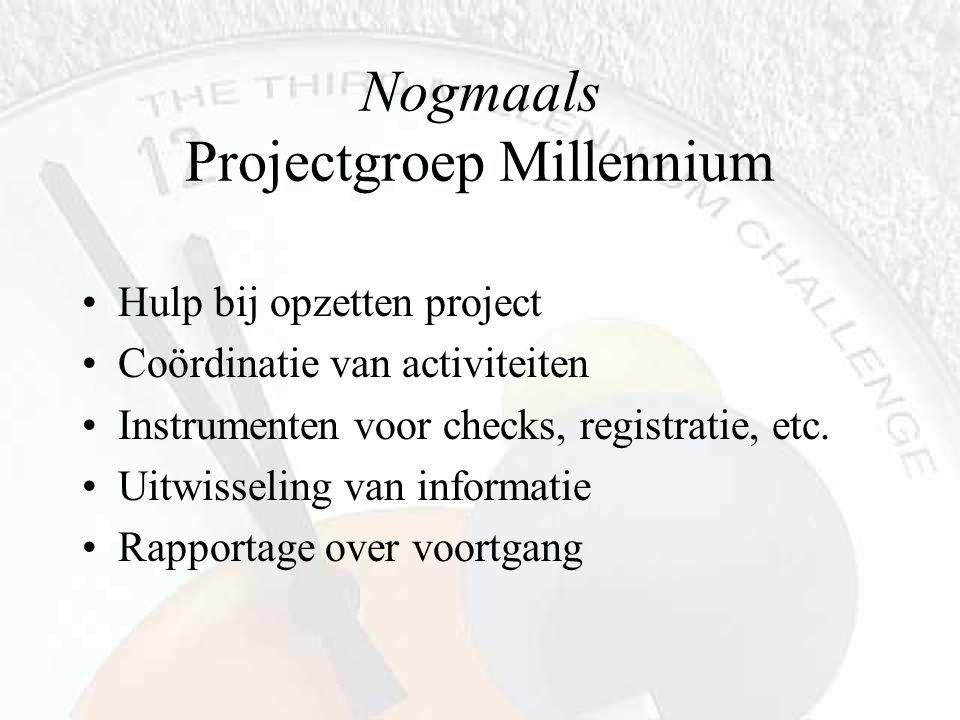 Nogmaals Projectgroep Millennium Hulp bij opzetten project Coördinatie van activiteiten Instrumenten voor checks, registratie, etc. Uitwisseling van i