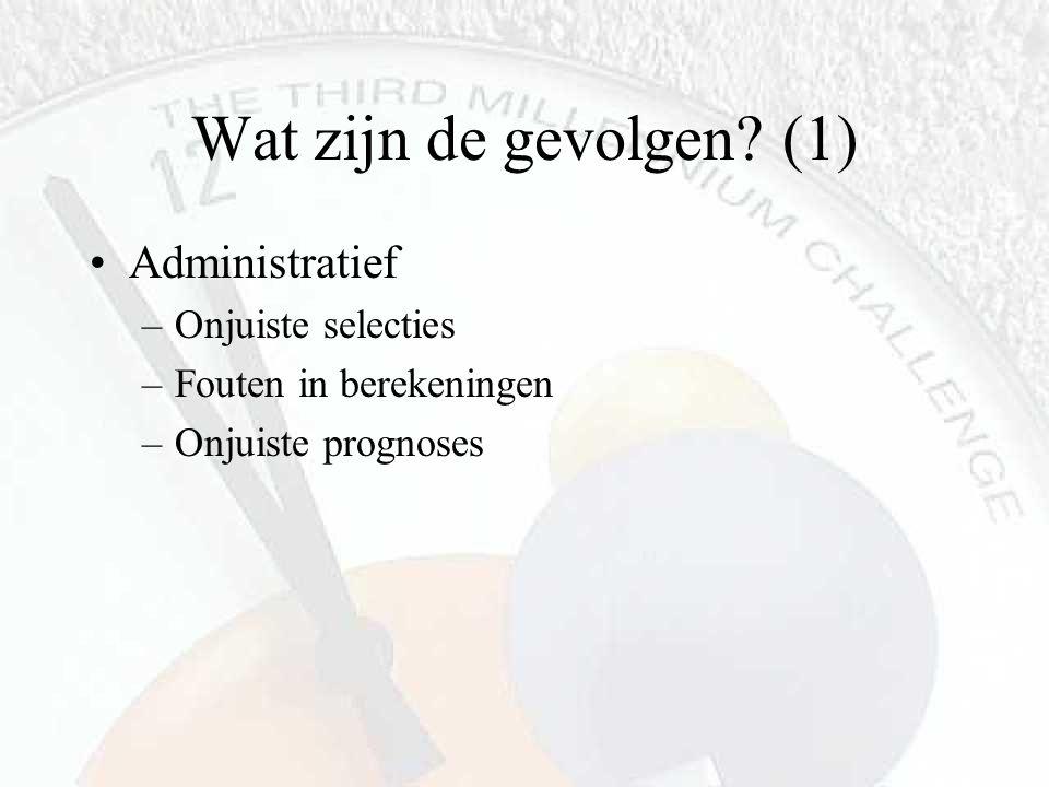 Wat zijn de gevolgen? (1) Administratief –Onjuiste selecties –Fouten in berekeningen –Onjuiste prognoses