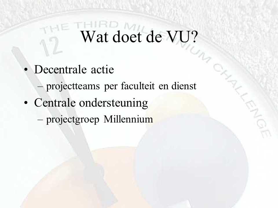 Wat doet de VU? Decentrale actie –projectteams per faculteit en dienst Centrale ondersteuning –projectgroep Millennium