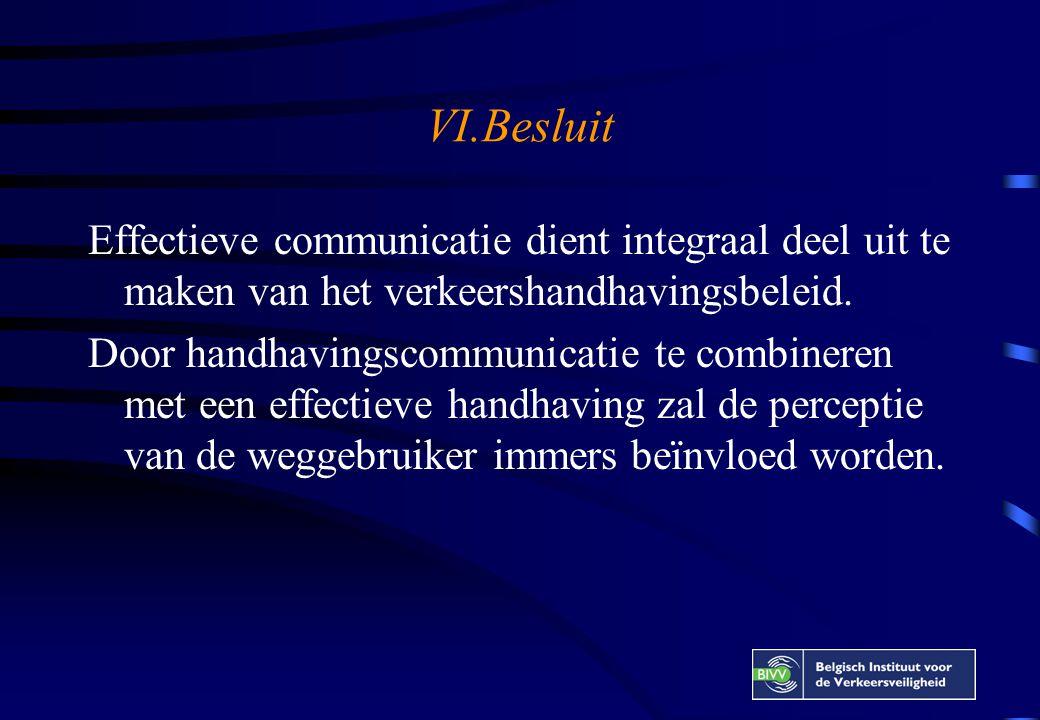 VI.Besluit Effectieve communicatie dient integraal deel uit te maken van het verkeershandhavingsbeleid.