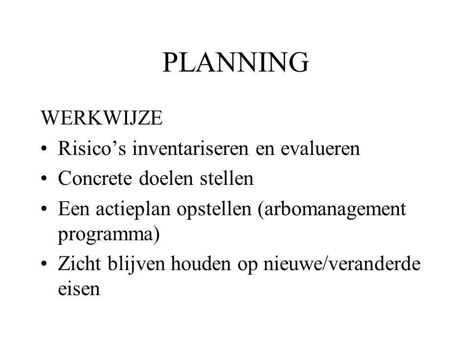 PLANNING WERKWIJZE Risico's inventariseren en evalueren Concrete doelen stellen Een actieplan opstellen (arbomanagement programma) Zicht blijven houden op nieuwe/veranderde eisen