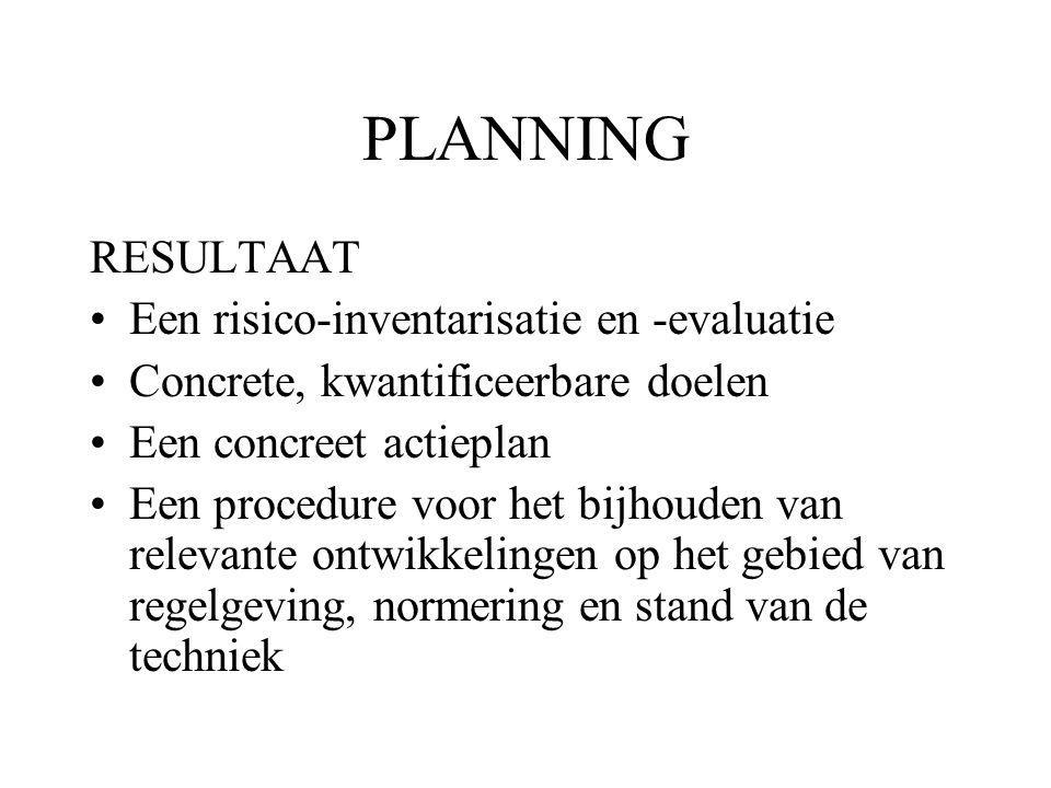 PLANNING RESULTAAT Een risico-inventarisatie en -evaluatie Concrete, kwantificeerbare doelen Een concreet actieplan Een procedure voor het bijhouden van relevante ontwikkelingen op het gebied van regelgeving, normering en stand van de techniek