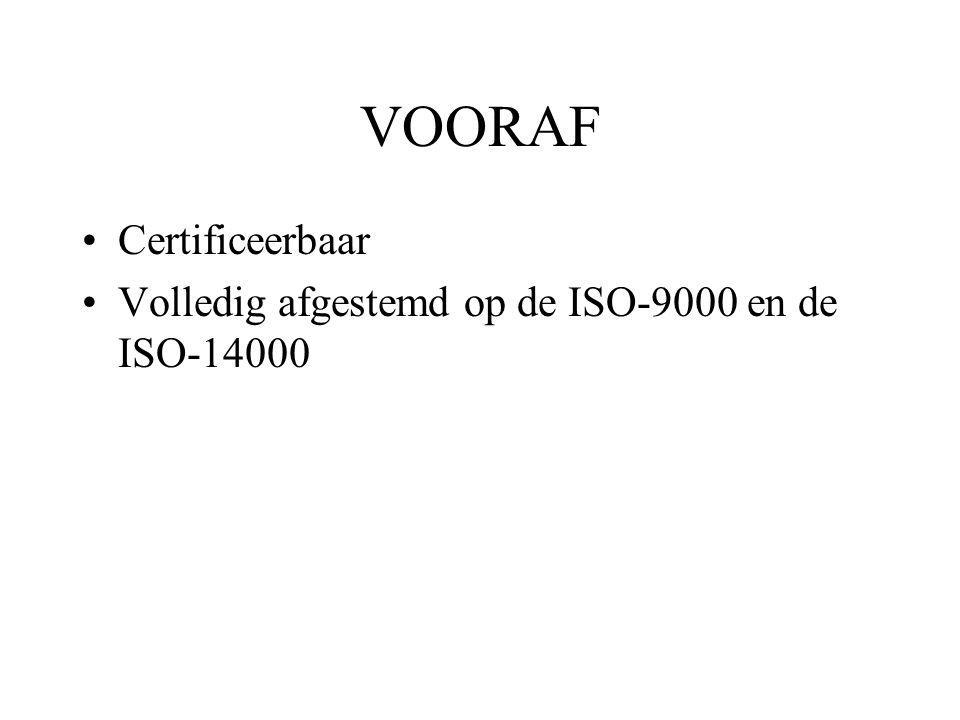 VOORAF Certificeerbaar Volledig afgestemd op de ISO-9000 en de ISO-14000