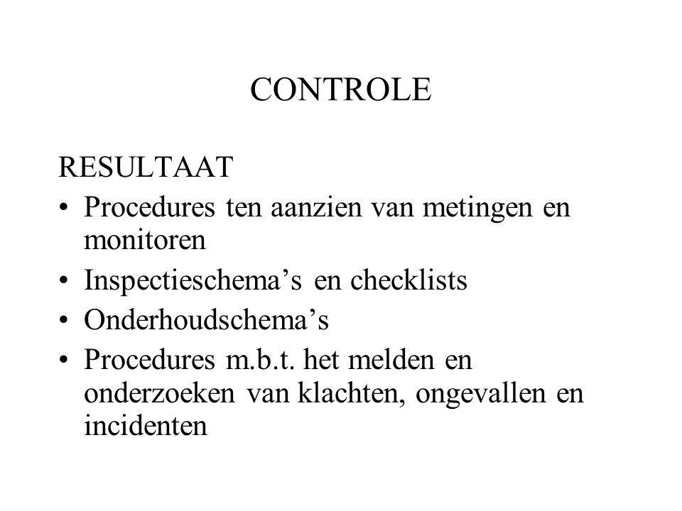 CONTROLE RESULTAAT Procedures ten aanzien van metingen en monitoren Inspectieschema's en checklists Onderhoudschema's Procedures m.b.t.