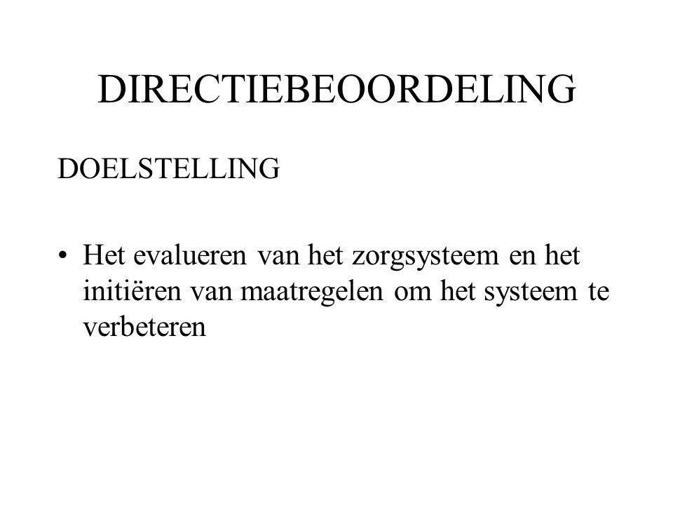 DIRECTIEBEOORDELING DOELSTELLING Het evalueren van het zorgsysteem en het initiëren van maatregelen om het systeem te verbeteren