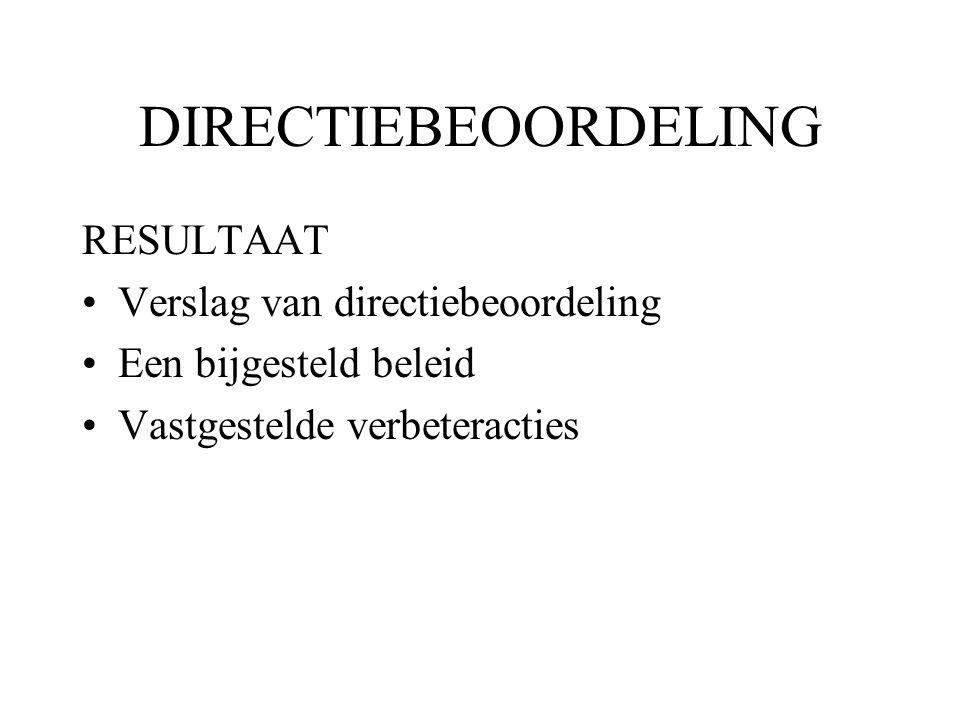 DIRECTIEBEOORDELING RESULTAAT Verslag van directiebeoordeling Een bijgesteld beleid Vastgestelde verbeteracties