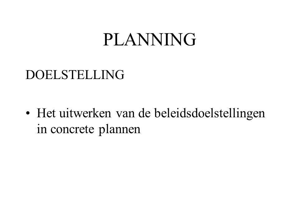 PLANNING DOELSTELLING Het uitwerken van de beleidsdoelstellingen in concrete plannen