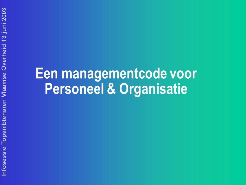 Infosessie Topambtenaren Vlaamse Overheid 13 juni 2003 Een managementcode voor Personeel & Organisatie