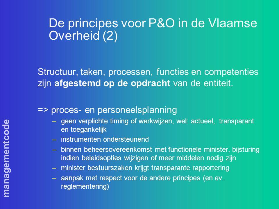managementcode De principes voor P&O in de Vlaamse Overheid (2) Structuur, taken, processen, functies en competenties zijn afgestemd op de opdracht van de entiteit.
