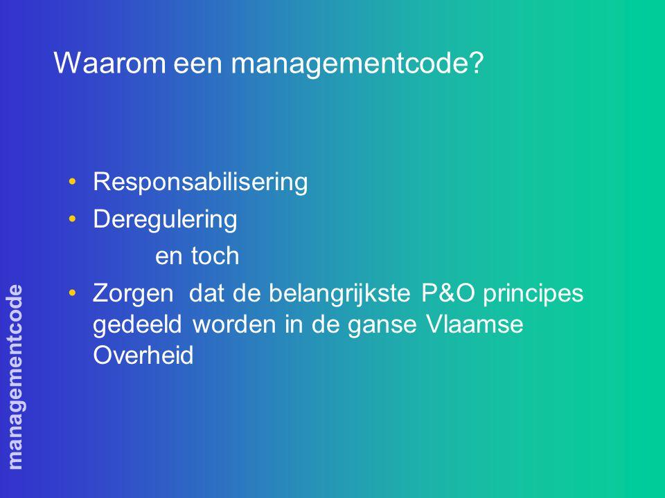 managementcode Waarom een managementcode.